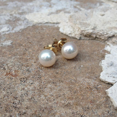 Pearl Stud Round Earrings 9ct - (Made to Order)